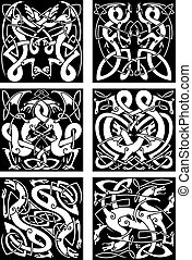 Celtic knot patterns with tribal dragons