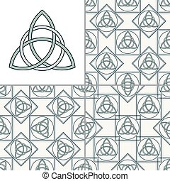 Celtic knot seamless pattern - Set of Celtic seamless...