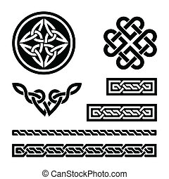 Celtic knots, braids and patterns - - Set od traditional...