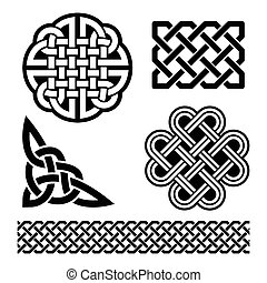 Celtic knots, braids and patterns - Set of traditional...