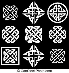 Celtic knots collection isolated on black background
