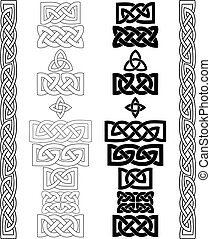 Celtic knots, patterns, frameworks vector - Set of Celtic...