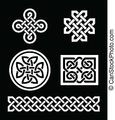 Celtic knots patterns on black - Set od traditional Celtic...