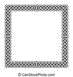 Celtic knots vector medieval frame in black and white