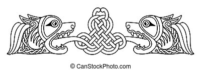 Celtic national drawing. - Celtic zoomorphic national...