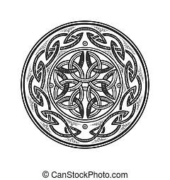 Celtic ornament engraving vector illustration. Scratch board...