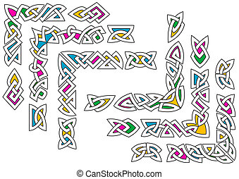 Celtic ornament patterns with colorful elements