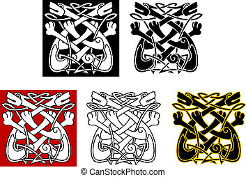 Celtic ornament with dogs and wolves