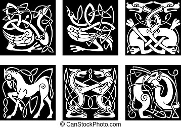 Celtic ornaments with animals - Abstract white animal...