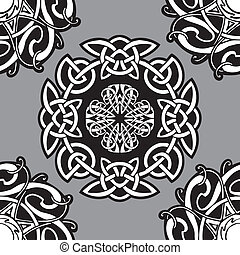 Celtic pattern. - Celtic vector ornamental pattern on a grey...