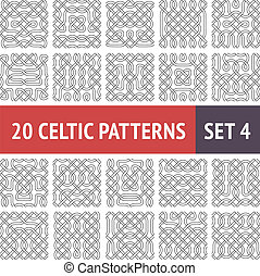 Set of 20 black and white Celtic seamless patterns with samples in swatches