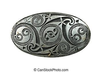 celtic shield brooch - pewter celtic shield brooch isolated...