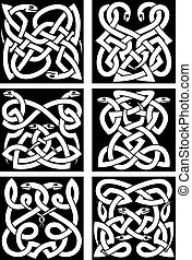 Celtic snakes knot patterns with intertwined reptiles and tribal ornament. Medieval embellishment or tattoo design elements