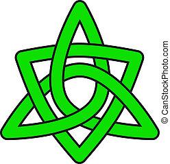 Celtic star - Green celtic ornament on white