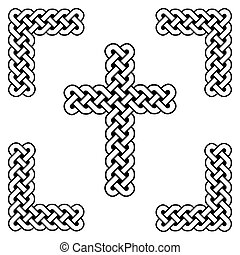 Celtic style endless curved  knot  cross symbols in white and black in knotted frame  inspired by Irish St Patrick's Day, and Irish and Scottish carving art