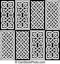 Celtic style endless knot rectangle symbols in white and black seamless tile inspired by Irish St Patrick's Day, and Irish and Scottish carving art