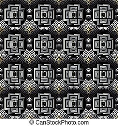 Celtic style tribal 3d greek vector seamless pattern. Surface ornamental abstract background. Ornate repeat geometric backdrop. Greek key meanders ornament with geometrical shapes, cross, curves