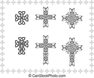 celtic stylization cross abstract frame elements icon object...