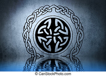 Celtic tattoo drawing on blue wall with water reflections