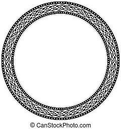 Celtic traditional ornament. Round frame with geometric ornament.
