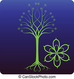 Celtic tree - Celtic looking tree - with enlarged flowers as...