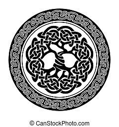 Celtic Tree of Life - Black and white illustration of celtic...