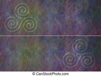 Celtic Triade Website Banner - Two similar rustic dark...