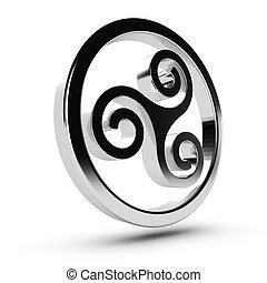 Celtic Triskelion - Metal Celtic triskelion in 3D over white...