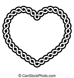 Celtic vector pattern heart shape - love concept, braided heart frame, greeting card for St Patrick's Day, Valentines Day