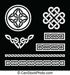 Celtic white knots, braids on black
