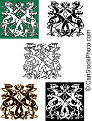 Celtic wolfs tied into knot ornament