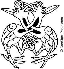celtico, annodato, linee, due, disegno, colomba, uccelli