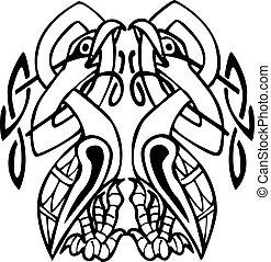 celtico, annodato, linee, due, disegno, uccelli