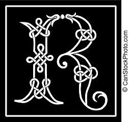 celtico, r, knot-work, lettera, capitale