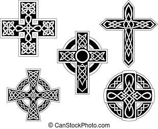 celtico, set, croci