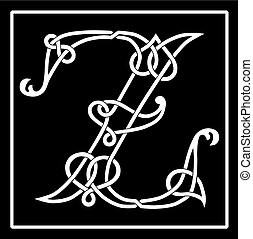celtico, z, knot-work, lettera, capitale