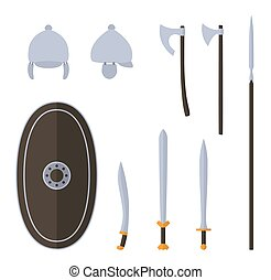 celtique, arme ancienne, equipment., ensemble, protecteur