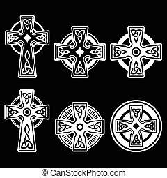 celtique, blanc, irlandais, écossais, croix