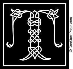 celtique, capital, t, lettre, knot-work