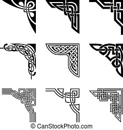 celtique, coins, ensemble