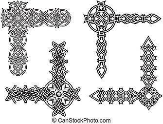 celtique, décoratif, noeud, coins