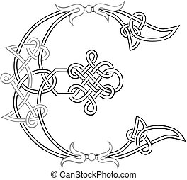 celtique, knot-work, majuscule, e
