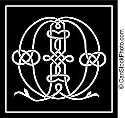 celtique, m, knot-work, lettre, capital