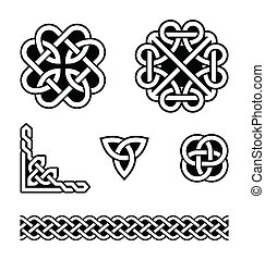 celtique, nœuds, motifs, -, vecteur