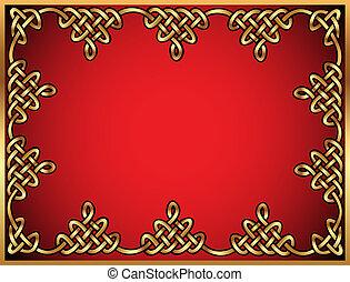 celtique, ornements, or, fond