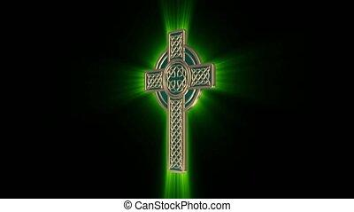 celtique, rayons, autour de, or, arrière-plan., croix, seamless, faire boucle, incandescent, vert, noir, tourne, axe