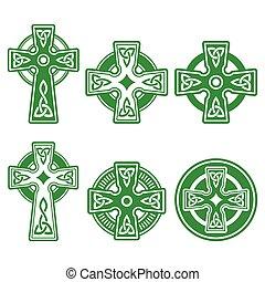 celtique, vert, irlandais, écossais, croix