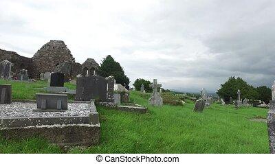 celtique, vieux, cimetière, cimetière, 64, irlande