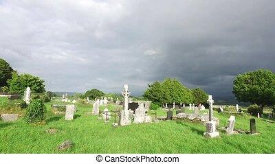 celtique, vieux, cimetière, cimetière, 65, irlande