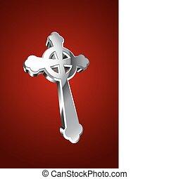 celtycki, ilustracja, wektor, krzyż